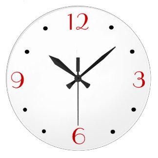 Blanco del llano con rojo > relojes de pared simpl
