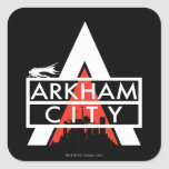 Blanco del logotipo de la ciudad de Arkham Pegatina Cuadrada