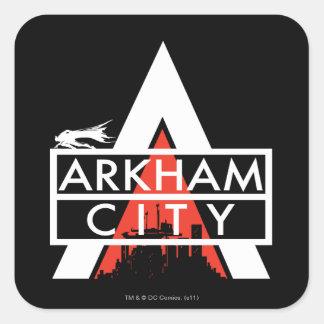 Blanco del logotipo de la ciudad de Arkham Calcomanías Cuadradas