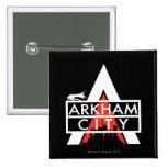 Blanco del logotipo de la ciudad de Arkham Pin Cuadrada 5 Cm