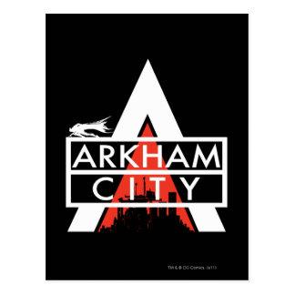 Blanco del logotipo de la ciudad de Arkham Tarjetas Postales