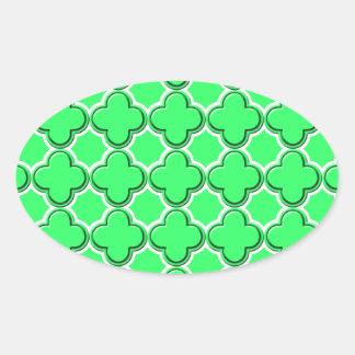 Blanco del modelo 2 del trébol pegatinas óval personalizadas