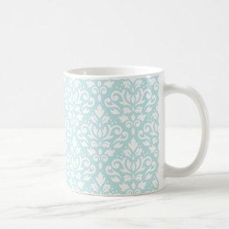 Blanco del modelo del damasco de la voluta en azul taza clásica