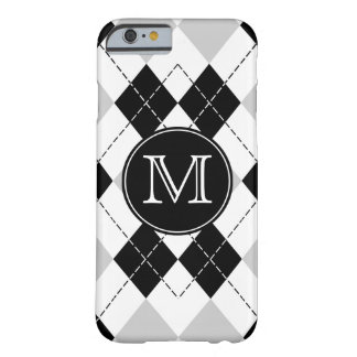 Blanco del negro con Argyle gris con monograma Funda Barely There iPhone 6