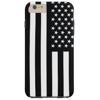 Blanco del negro de la bandera americana funda de iPhone 6 plus tough