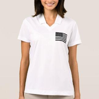 Blanco del negro de la bandera americana camiseta polo