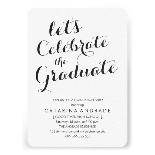 Blanco del negro de la foto de la fiesta de gradua invitaciones personales