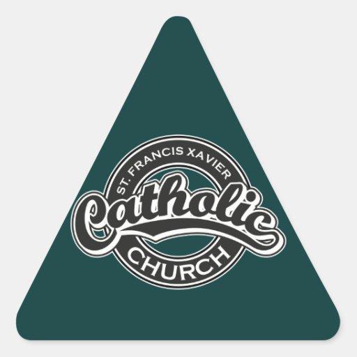 Blanco del negro de la iglesia católica de St Calcomanía De Triangulo Personalizadas