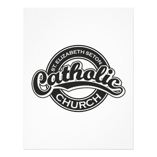Blanco del negro de la iglesia católica del St. El Membretes Personalizados