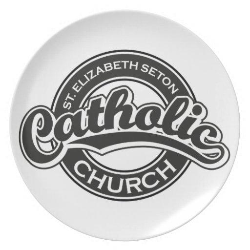 Blanco del negro de la iglesia católica del St El Plato De Comida