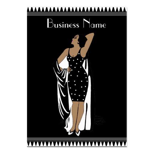 Blanco del negro del chica del encanto del vintage tarjetas personales