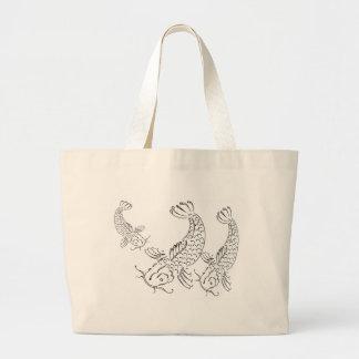 Blanco del negro del diseño moderno de los pescado bolsa