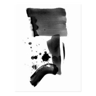 Blanco del negro del expresionismo abstracto tarjetas postales
