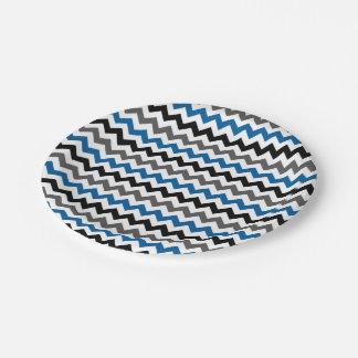 Blanco del negro del gris azul del fondo del plato de papel 17,78 cm