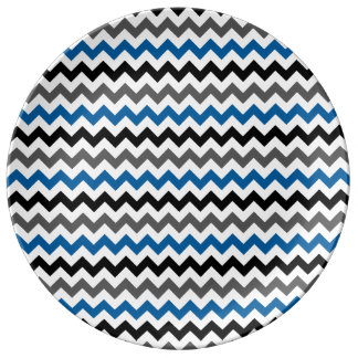 Blanco del negro del gris azul del fondo del plato de cerámica