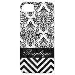 Blanco del negro el | del diseñador del damasco de iPhone 5 coberturas