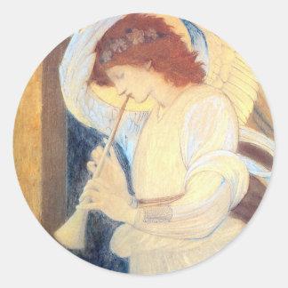 Blanco del oro de Burne-Jones de los pegatinas del Pegatina Redonda