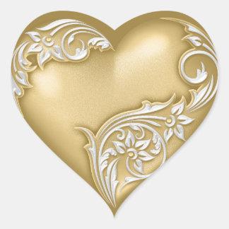 Blanco del oro w de la voluta del corazón pegatina en forma de corazón