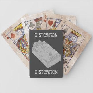 Blanco del pedal de la distorsión de la guitarra e cartas de juego