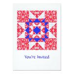 Blanco del remiendo de la estrella y azul rojos invitación 12,7 x 17,8 cm