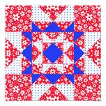 Blanco del remiendo de la estrella y azul rojos invitación 13,3 cm x 13,3cm