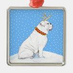 Blanco del reno del navidad del dogo ornatos