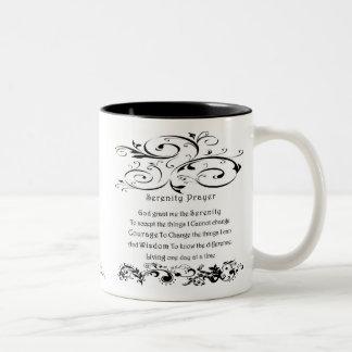 Blanco del rezo de la serenidad tazas de café