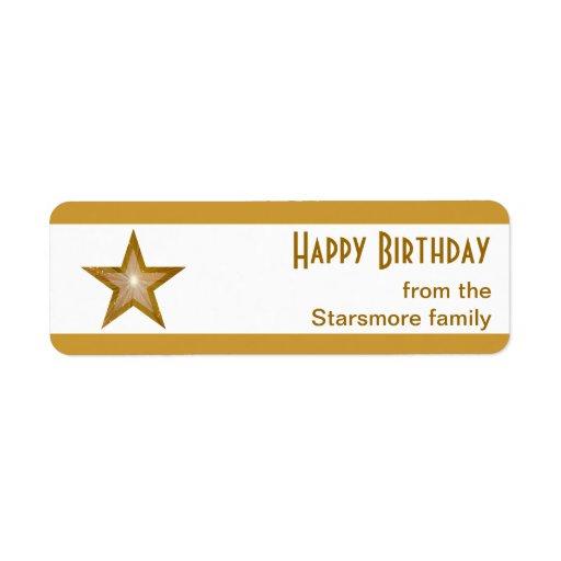 """Blanco del texto del """"feliz cumpleaños"""" de la raya etiquetas de remite"""