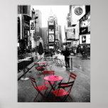 Blanco del Times Square y rojo negros Impresiones