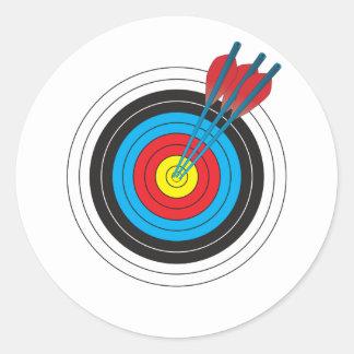 Blanco del tiro al arco con las flechas pegatina redonda