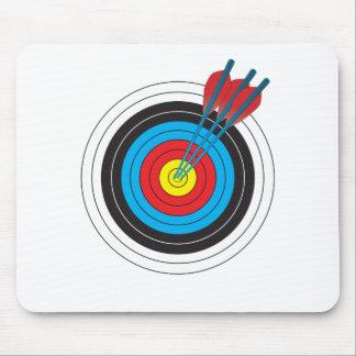 Blanco del tiro al arco con las flechas tapetes de ratones