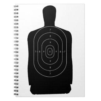 Blanco del tiroteo libro de apuntes con espiral