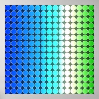 Blanco del verde azul de los lunares de la pendien póster