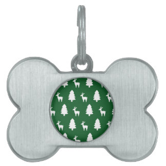 Blanco del verde del reno del árbol de navidad placa de nombre de mascota