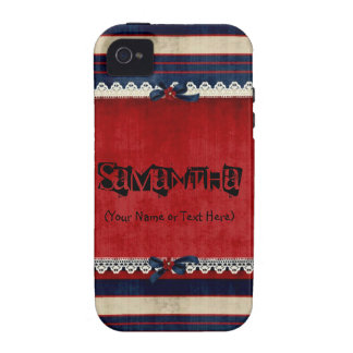 Blanco del vintage y azul rojos Case-Mate iPhone 4 fundas
