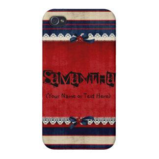 Blanco del vintage y azul rojos iPhone 4/4S fundas
