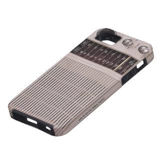 Blanco del vintage y radio del metal de Brown iPhone 5 Case-Mate Cárcasas