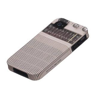 Blanco del vintage y radio del metal de Brown iPhone 4 Carcasa