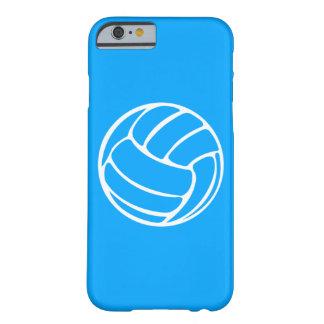 blanco del voleibol del caso del iPhone 6 en azul Funda Para iPhone 6 Barely There
