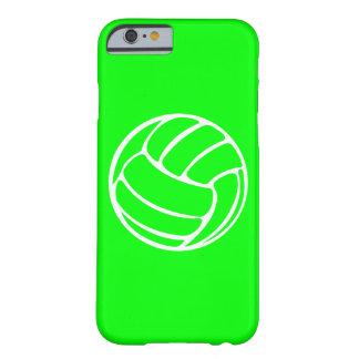 blanco del voleibol del caso del iPhone 6 en verde Funda Para iPhone 6 Barely There