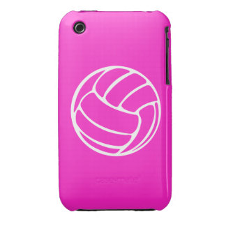 blanco del voleibol del iPhone 3 en rosa iPhone 3 Case-Mate Protector