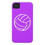 blanco del voleibol del iPhone 4 en púrpura iPhone 4 Case-Mate Protector