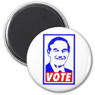 Blanco del voto 2012 de Ron Paul y azul rojos Imán Redondo 5 Cm