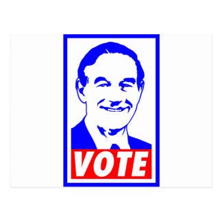 Blanco del voto 2012 de Ron Paul y azul rojos Postal