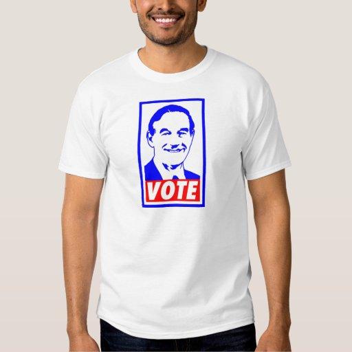 Blanco del voto 2012 de Ron Paul y azul rojos Remeras