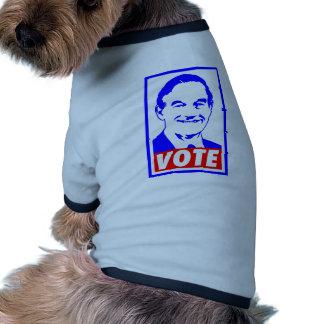 Blanco del voto 2012 de Ron Paul y azul rojos Camisa De Perro