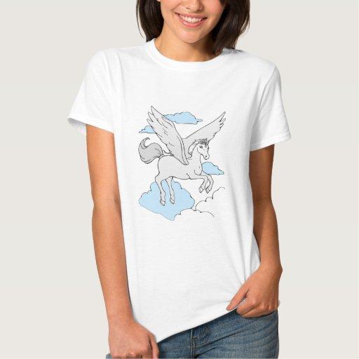 blanco del vuelo-unicornio () remera