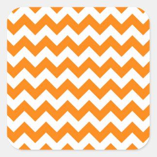 Blanco del zigzag I y anaranjado pequeños Pegatina Cuadrada