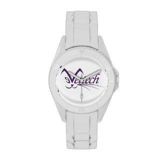 Blanco deportivo del reloj de Vettech