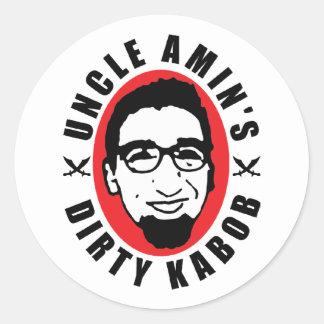 Blanco Dirty Kabob Sticker de tío Amin Pegatinas Redondas
